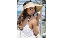 Women's UPF 50 Wide Brim Roll-up Straw Sun Hat Sun Visor
