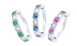 Princess Bezel Stacking Eternity Rings Made With Cubic Zirconia Stones