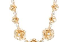 Catherine Malandrino Crystal Gold Tone Flower Necklaces