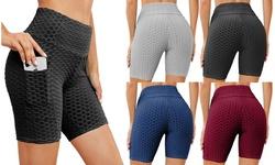 Women's High-Waist Butt Lifting Biker Shorts with Pockets