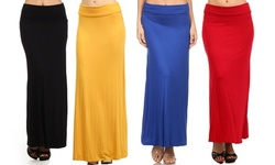 Women's Basic Solid Foldable High Waist Maxi Skirt with Plus size US-Size