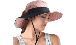 Women Pony Sun Hat Wide Brim Bucket Cap Outdoor Fishing Hats UV Protection