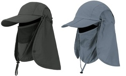 Foldable Sun Fishing Cap Hats With Face Mask Neck Flap
