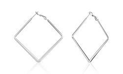 Polished Stainless Steel Large Diamond Shaped Hoop Earrings