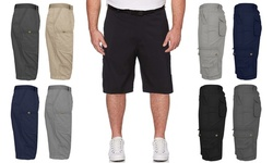 (2-Pack) Men's Extended Size Cotton Cargo Utility Belted Shorts (Sizes, 44-50)