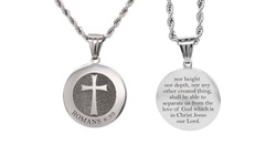 Solid Stainless Steel Round Scripture Tag Necklace By Pink Box