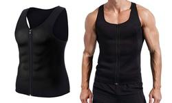 Men Neoprene Sweat Vest Tank Top Trainer Tummy Slimming Body Shaper Waist Zipper