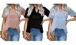 Womens Chiffon Blouse Summer Casual V-Neck Short Sleeve Shirts Top