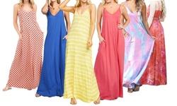 Doublju Women's Spaghetti Strap Maxi Long Dress with Pockets (S-3X)