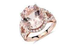 18K Rose Gold Plated Pink Champagne Cubic Zirconia Halo Cocktail Ring