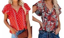 Women's Boho V Neck Tops Drawstring Short Sleeve T Shirt Blouses