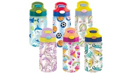 6-Pack Kid's Assorted Water Bottles With Auto Straw - BPA Free