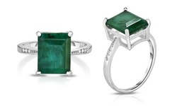 Sterling Silver 4.00CT Genuine Earth Mined Emerald Gemstone Ring