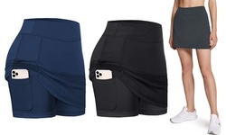 Women's Athletic Skorts Lightweight Running Active Skirts with Shorts Pockets