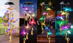 LED Wind Chime Lights Solar Powered Color-Changing Outdoor Hanging Decor Bells