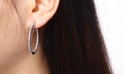Round Hoop Earrings Made with Crystals By Swarovski