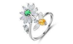 Cubic Zirconia Flower and Bee Band Rings Anti-Anxiety Adjustable Ring