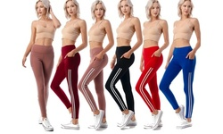 Women's High Waist Active Yoga Slimming Legging With Side Stripe and Pocket