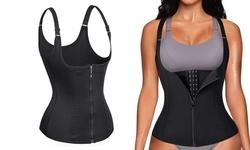 Women Waist Trainer Zipper Body Shaper Corset Neoprene Sauna Sweat Vest Tank Top