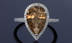 Fine 925 Sterling Silver Chocolate Quartz Gemstone Halo Ring