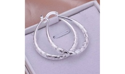 925 Sterling Silver Oval Filigree Hoop Earrings