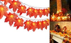 20/40 LEDs Halloween Maple Leaves String Powered Fall Garland Lights Decor
