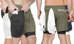 Mens 2 in 1 Running Shorts Quick Dry Workout Shorts with Phone Pockets