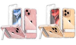 Fr iPhone 13/13Pro/13 Pro Max Bling Clear Bracket Case Built-in Screen Protector