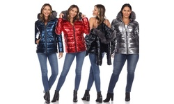 Women's Metallic Puffer Coat with Hoodie. Plus Size Available.