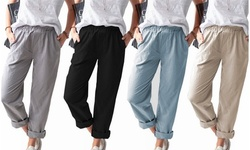 Women Lightweight Elastic Waist Lounge Pants Trousers with Pockets