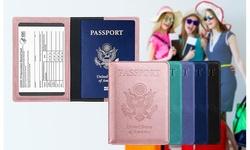 PU Leather 2 in 1 Passport & CDC Vaccine Card Holder