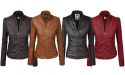 Made By Johnny Womens Faux Leather Zip Up Moto Biker Jacket