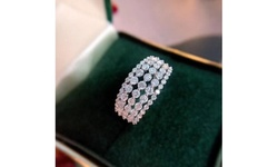 Luxury 925 Sterling Silver Five Row Ring