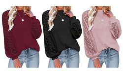 Women Long Sleeve Tops Lace Casual Loose Blouses T Shirts