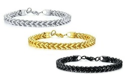 Men's Sterling Projects Franco Bracelet In Silver , Black or Gold