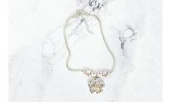 Kid's Pink Tone Initial Charmed Flower Locket Necklace By Pink Box