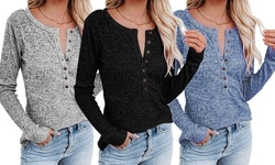 LESIES Women's Long Sleeve Henley Shirts Button Up V Neck Tunic  Top