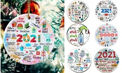 Both Sides Pinted Christmas Tree Decor Ornament XMAS Decorations Remember 2021